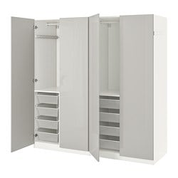PAX wardrobe, white, Fardal high-gloss light grey