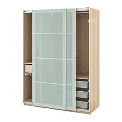 PAX wardrobe, white stained oak effect, Sekken frosted glass