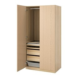 PAX wardrobe, white stained oak effect, Forsand