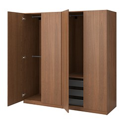 PAX wardrobe, brown stained ash effect, Forsand brown stained ash effect