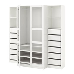 PAX wardrobe, white, Tyssedal glass