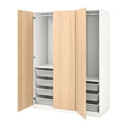 PAX wardrobe, white, Repvåg white stained oak veneer