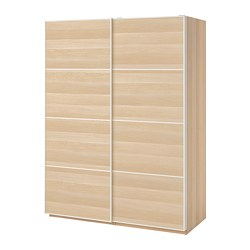 PAX wardrobe, white stained oak effect, Mehamn white stained oak effect
