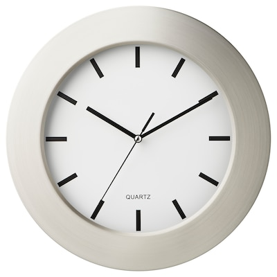 PERSBY wall clock stainless steel/white 4 cm 30 cm