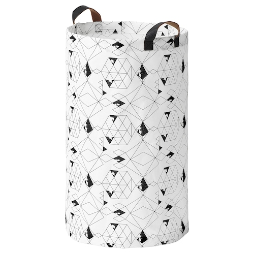 PLUMSA laundry bag white/black 66 cm 36 cm 60 l