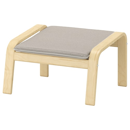 POÄNG footstool birch veneer/Knisa light beige 68 cm 54 cm 39 cm 54 cm 54 cm 38 cm