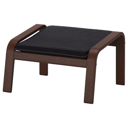 POÄNG footstool brown/Knisa black 68 cm 54 cm 39 cm