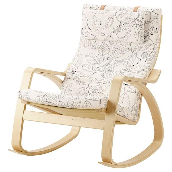 POÄNG Rocking-chair, birch veneer/Vislanda black/white