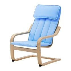 POÄNG children's armchair, birch veneer, Almås blue