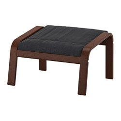 POÄNG footstool, brown, Hillared anthracite