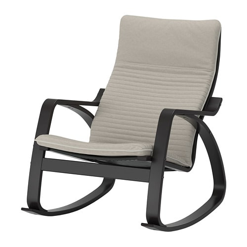 Dondolo Ikea Poang.Poang Rocking Chair Black Brown Knisa Light Beige
