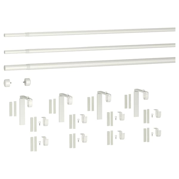 RÄCKA / HUGAD triple curtain rod combination white 120 cm 210 cm