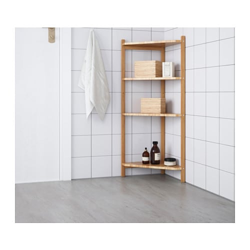 RÅGRUND Corner shelf unit IKEA Bamboo is a hardwearing natural material.