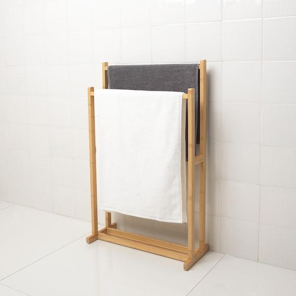 RÅGRUND Towel stand with 2 rails, bamboo