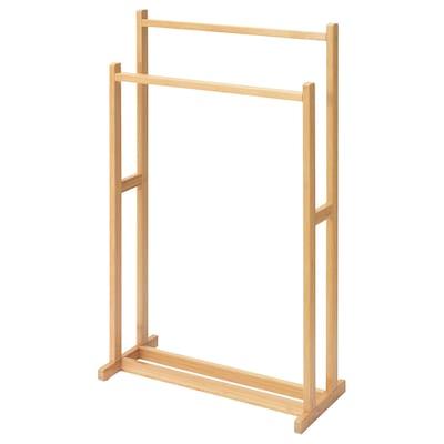 RÅGRUND towel stand with 2 rails bamboo 47 cm 75 cm