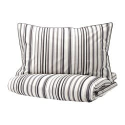 RANDGRÄS quilt cover and 2 pillowcases, grey, stripe