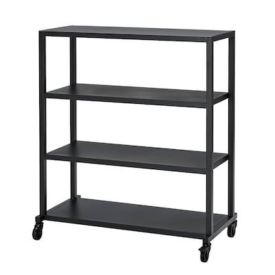 RÅVAROR Storage unit on castors, black, 100x115 cm