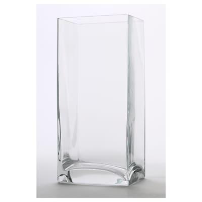 REKTANGEL Vase, clear glass, 22 cm