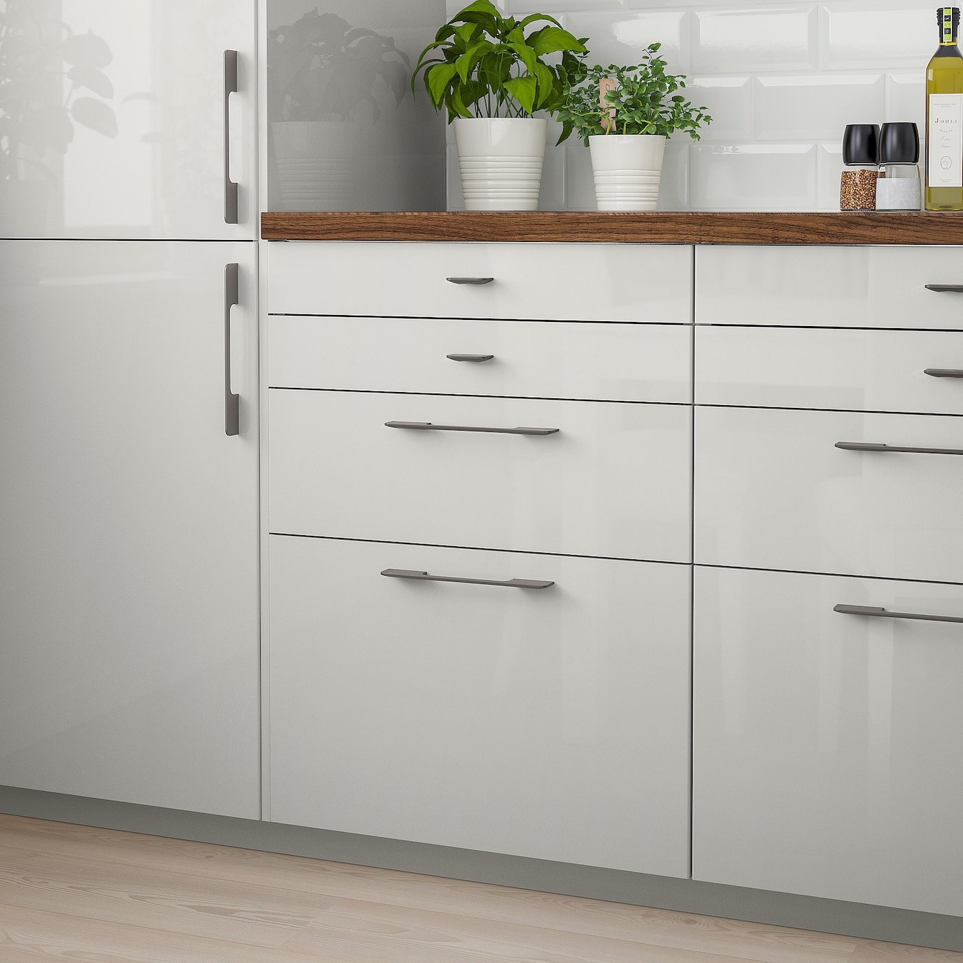 RINGHULT Drawer front   high gloss light grey 9x9 cm