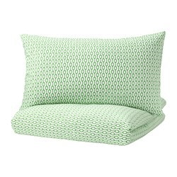RÖDVED quilt cover and pillowcase, white, green