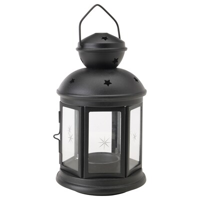 ROTERA lantern for tealight in/outdoor black 21 cm