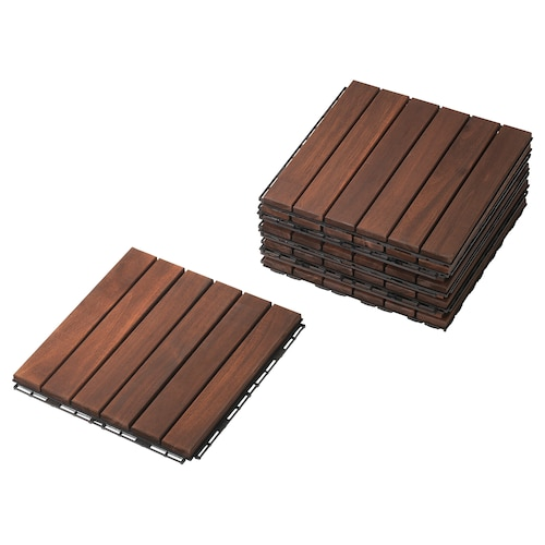 RUNNEN floor decking, outdoor brown 0.81 m² 30 cm 30 cm 2 cm 0.09 m² 9 pieces