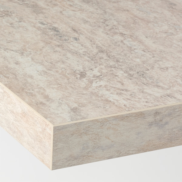 SÄLJAN Worktop, beige stone effect/laminate, 246x3.8 cm