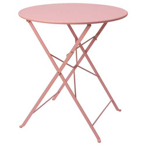 SALTHOLMEN table, outdoor foldable/pink 71 cm 65 cm