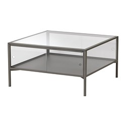 SAMMANHANG coffee table, grey, glass