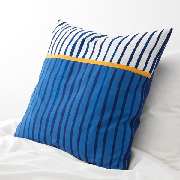 SÅNGLÄRKA cushion stripe/blue orange 50 cm 50 cm 350 g 380 g