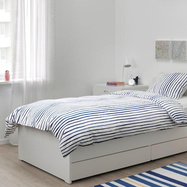 SÅNGLÄRKA quilt cover and pillowcase striped/blue white 200 cm 150 cm 50 cm 80 cm