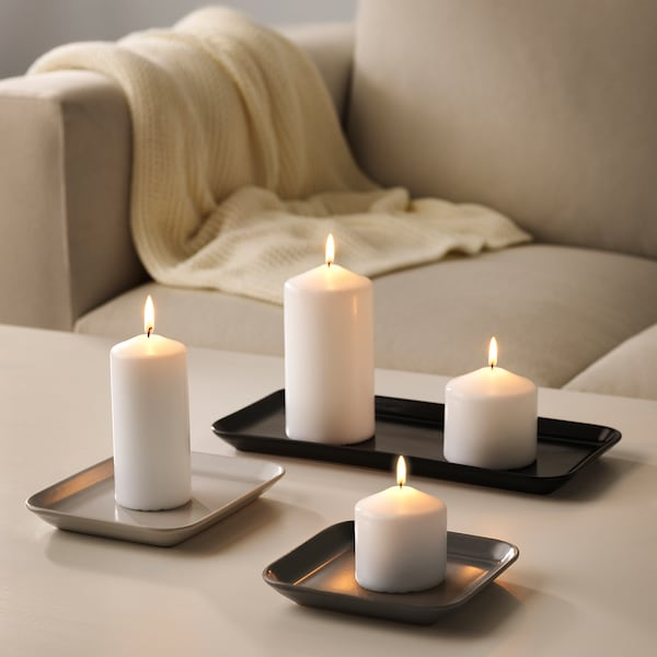 SINNESRO candle dish, set of 3