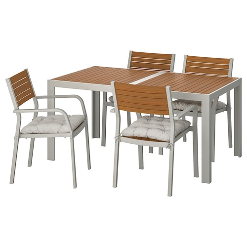 SJÄLLAND table+4 chairs w armrests, outdoor light brown/Kuddarna grey 156 cm 90 cm 73 cm