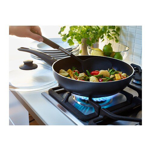 SKÄNKA Sauté pan with lid IKEA Easy grip handle makes the pan easy to lift.