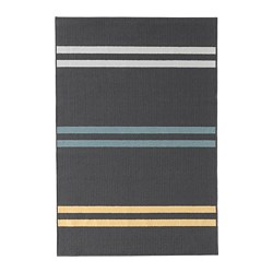 SKELDE rug, low pile, black, multicolour