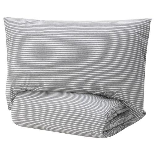 SKENHASSEL quilt cover and pillowcase grey 1 pieces 200 cm 150 cm 50 cm 80 cm