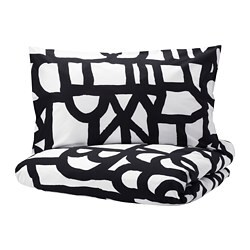 SKUGGBRÄCKA quilt cover and 2 pillowcases, white, black