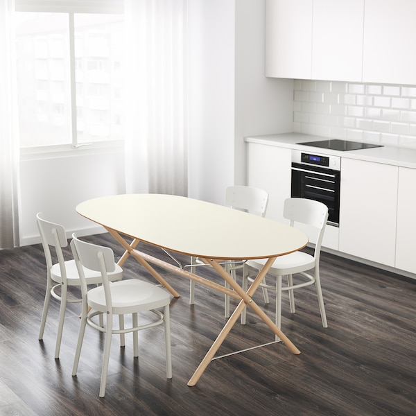 SLÄHULT Table - white, Dalshult birch - IKEA