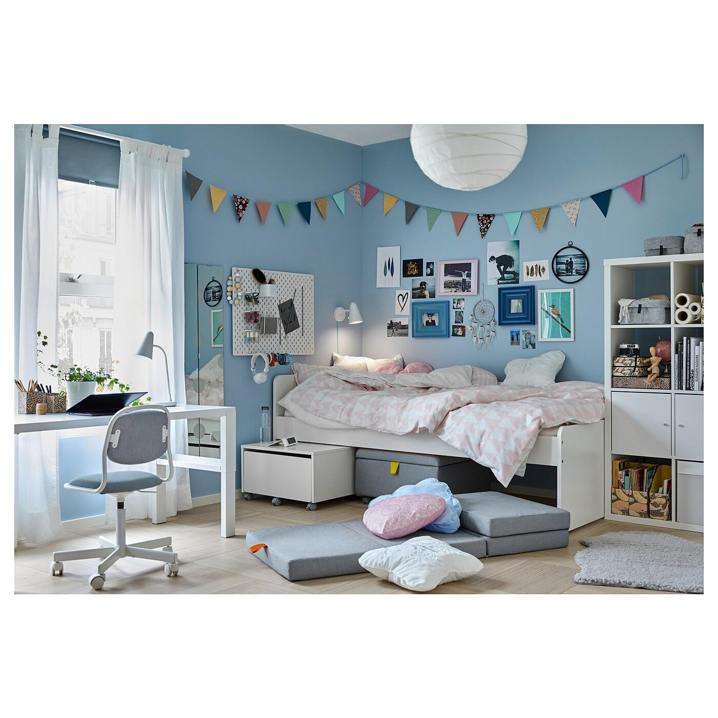 Slakt Bed Frame W Seat Module And Storage White Grey Ikea