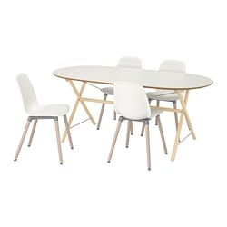 SLÄHULT/ DALSHULT /  LEIFARNE table and 4 chairs, birch, white
