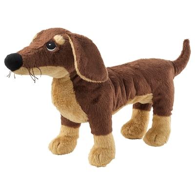 SMÅSLUG soft toy dog/brown