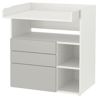 SMÅSTAD Changing table, white grey/with 3 drawers, 90x79x100 cm