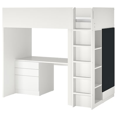 SMÅSTAD Loft bed, white blackboard surface/with desk with 4 drawers, 90x200 cm