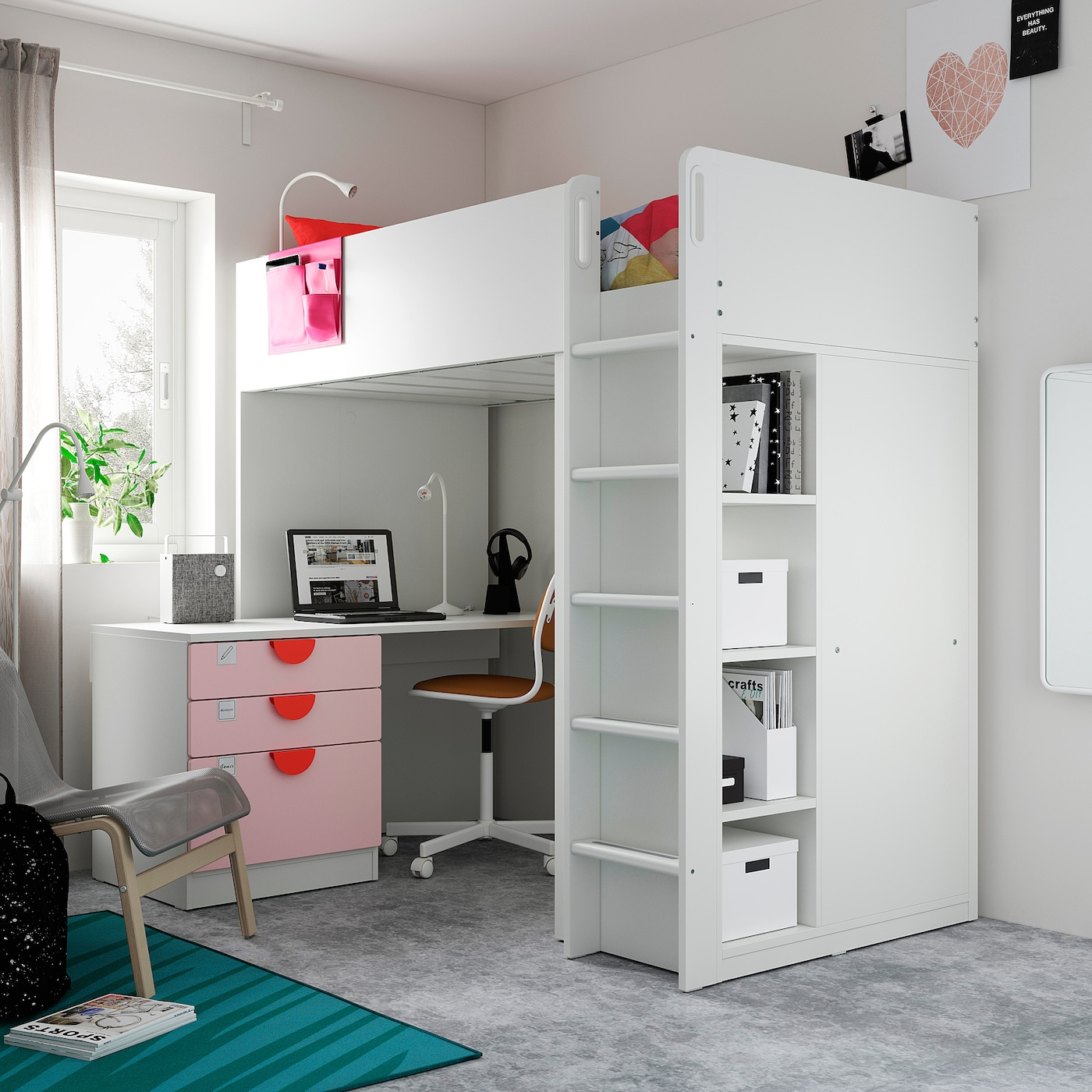SMÅSTAD Loft bed, white pale pink/with desk with 4 drawers, 90x200 cm