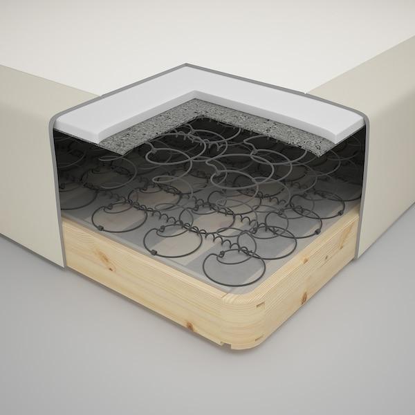 SNARUM Wooden base sprung mattress, firm/beige, 120x200 cm