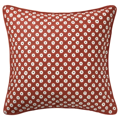 SNÖBRÄCKA Cushion cover, red white/flower patterned, 50x50 cm