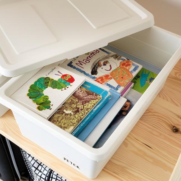 SOCKERBIT box with lid white 38 cm 25 cm 15 cm