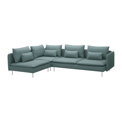 Divano In Rattan Ikea.Soderhamn Corner Sofa 4 Seat With Open End Finnsta Turquoise