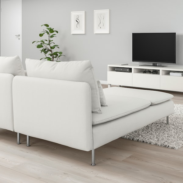 SÖDERHAMN 2-seat sofa, with chaise longue/Finnsta white
