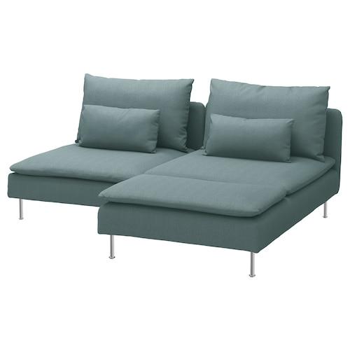 SÖDERHAMN 2-seat sofa with chaise longue/Finnsta turquoise 83 cm 69 cm 151 cm 186 cm 99 cm 122 cm 14 cm 70 cm 39 cm